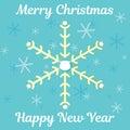 Abstract Christmas card with snowflakes, santa beard and wishing text. Royalty Free Stock Photo