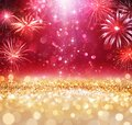 Abstract Christmas Celebration - Shiny Golden Glitter With Defocused Lights And Fireworks On red Background - contain 3d Illustrat Royalty Free Stock Photo