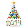 Abstract christmas tree greeting card and made of colorful cubes Stock Photography