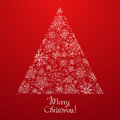 Abstract Christmas tree made of snowflakes Royalty Free Stock Photos