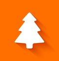 Abstract christmas tree on orange background in flat style vector illustration Royalty Free Stock Photography