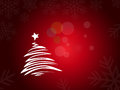 Abstract christmas tree three on red background Stock Photo