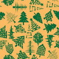 Abstract christmas trees pattern seamless over retro orange grungy abstact composition Stock Image