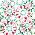 Abstract christmas trees pattern seamless over white abstact composition with circles as snowflakes Royalty Free Stock Photography