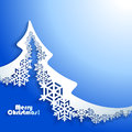 Abstract christmas winter background with paper tree Royalty Free Stock Photography