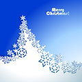 Abstract christmas winter background with paper tree Stock Photo