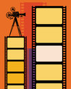 Abstract cinema background with camera and film strip Royalty Free Stock Image