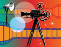 Abstract cinema background with film camera Royalty Free Stock Photography