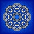Abstract  circle floral ornamental border. Lace pattern design. White ornament on blue background. Can be used for banner, w Royalty Free Stock Photo