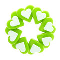 Abstract circle frame made of hearts isolated round glossy green and white on white Stock Photos