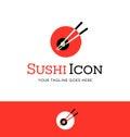 Abstract circle sushi logo with chopsticks. Royalty Free Stock Photo