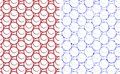 Abstract circles seamless pattern set of two style blue is with energy crystal texture red is simple comic cartoon style Royalty Free Stock Images