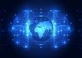 Abstract circuit digital brain, global technology concept vector