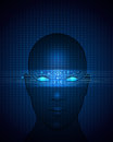 Abstract circuit on human face vector file blue background of modern digital technology Stock Images