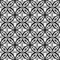 Black and white floral Abstract Geometric Seamless Vector Print Pattern