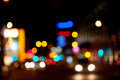 Abstract city lights defocused night scene Stock Images