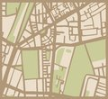 Abstract city map with streets buildings and park brown beige green simply hand made draft town plan vintage illustration Royalty Free Stock Images