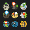 Abstract city map with symbols collection design elements Stock Images