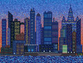 Abstract city on sunset mosaic background Stock Photo
