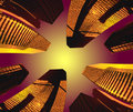 FUTURISTIC CITY ABSTRACT CITYSCAPE BACKGROUND Royalty Free Stock Photo