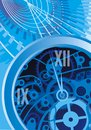 Abstract clock machine background as nice blue Stock Photography