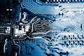 Abstract, close up of Electronic Circuits in Technology on Mainboard computer background Royalty Free Stock Photo