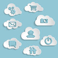 Abstract clouds collection with social networks icons on a blue background Stock Images