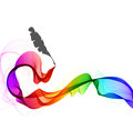 Abstract color background with wave and feather pen illustration Stock Images