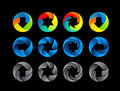 Abstract color icon set illustration on black background Royalty Free Stock Photo