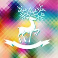 Abstract color xmas background with deer and ribbon for seasonal greetings Royalty Free Stock Images