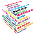 Abstract colored cube with  business terms Royalty Free Stock Image