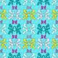 Abstract colored objects grunge effect vector seamless pattern on a blue background Royalty Free Stock Photo