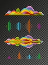 Abstract colored sound wave vector design elements