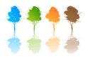 Abstract colored trees spray paint white background Royalty Free Stock Images