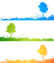 Abstract colored trees spray paint white background Stock Photos