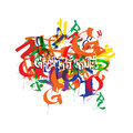 Abstract colored vector background with graffiti design.