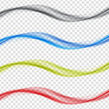 Abstract colored wave Set on Transparent Background. Vector Illustration. EPS10