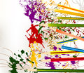 Abstract colorful art vector background with ink splash and penc Royalty Free Stock Photo