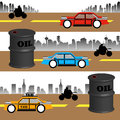 Abstract colorful background with cars motorcycles and oil barrels in the middle of the road oil consumption theme Stock Photography
