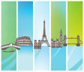 Abstract colorful background with famous european landmarks and copy space Royalty Free Stock Image
