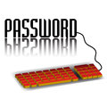 Abstract colorful background red computer keyboard connected to word password Royalty Free Stock Photo