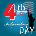 Abstract colorful background with the statue of liberty and the text fourth of july independence day written with red and white Royalty Free Stock Image