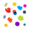 Abstract colorful blots stains splashes isolated on white background Royalty Free Stock Photography