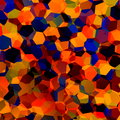 Abstract Colorful Chaotic Geometric Background. Generative Art Red Blue Orange Pattern. Color Palette Sample. Hexagonal Shapes. Royalty Free Stock Photo