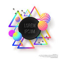 Abstract colorful composition with geometric elements. Multicolored background with decorative balls and triangles Royalty Free Stock Photo