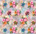 Abstract colorful digital background with classical flowers