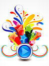 Abstract colorful exploade play button vector illustration Royalty Free Stock Image