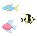 Abstract colorful fishes vector illustration doodle hand drawn Stock Photo