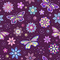 Abstract colorful flowers and butterflies Royalty Free Stock Image