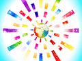 Abstract colorful globe with rectangle concept Royalty Free Stock Photos